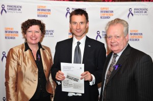 Pancreatic Cancer UK CEO Alex Ford, Health Minister Jeremy Hunt, MP Eric Ollerenshaw
