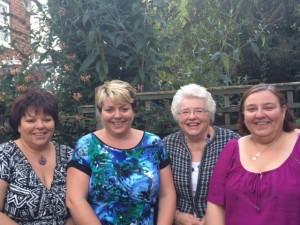 Left to Right , Sarah O'hara, Emma Parkins, Mum Pauline Parkins, Deborah Storey